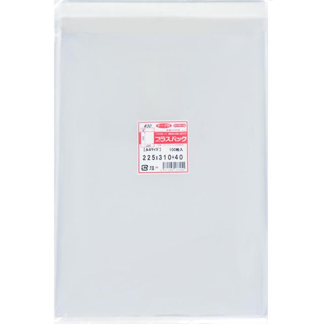 OPP袋 [A4] 横225x縦310+40mm テープ付き (100枚) 30# プラスパック T324