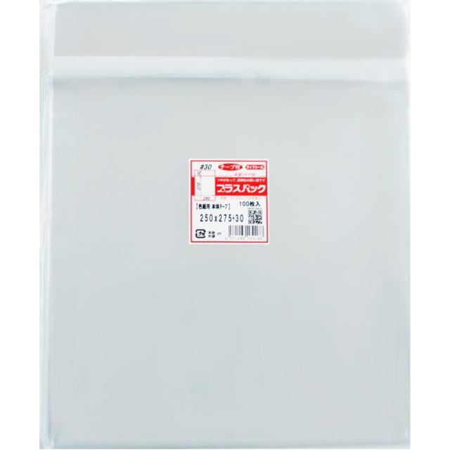 OPP袋 [色紙用] 横250x縦275+30mm 本体テープ付き (5,000枚) 30# プラスパック T336