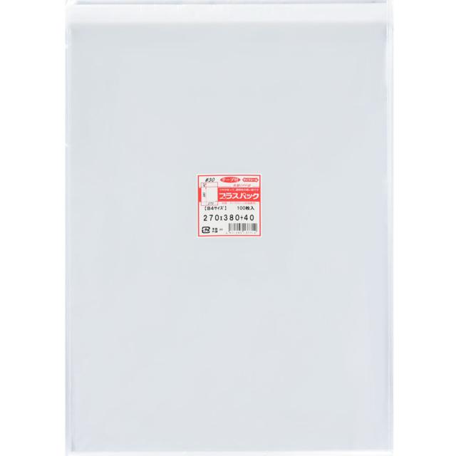 OPP袋 [ B4 ] 横270x縦380+40mm テープ付き (100枚) 30# プラスパック T326
