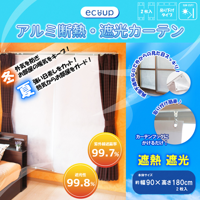 【送料無料】ecoup アルミ断熱・遮光カーテン 幅90×高さ180cm (2枚入) 両面不織布 省エネ UVカット 吊り下げ式 プラスパック SHC-180-2