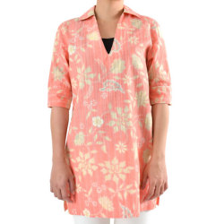 レディースチュニックシャツ/Carve Flower