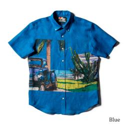 メンズ半袖アロハシャツ/BLUE SKY BLUES