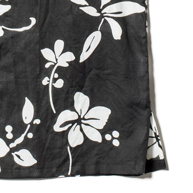 メンズ イタリアンカラー長袖シャツ/Noir Hibiscus