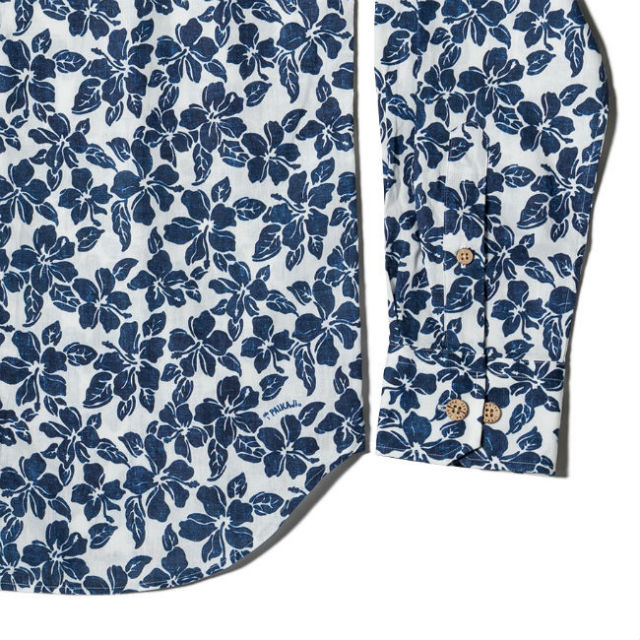 メンズ長袖シャツ/Blue Flowers