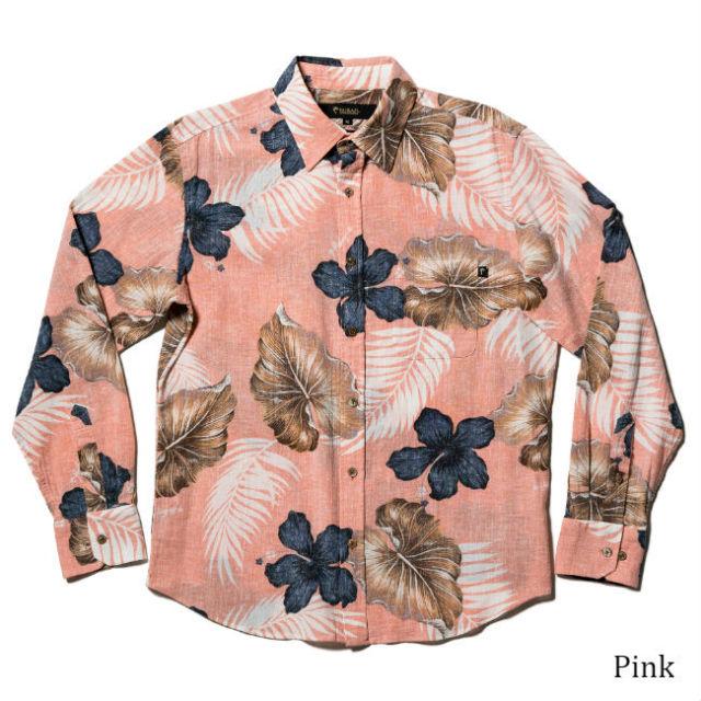 メンズ長袖レギュラーカラーシャツ/South leafs