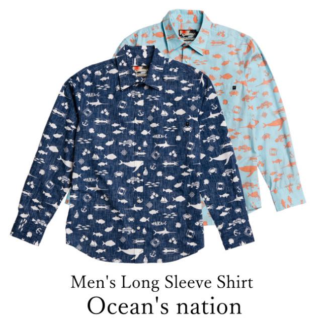 Men's Long Sleeve Shirt/Ocean's nation