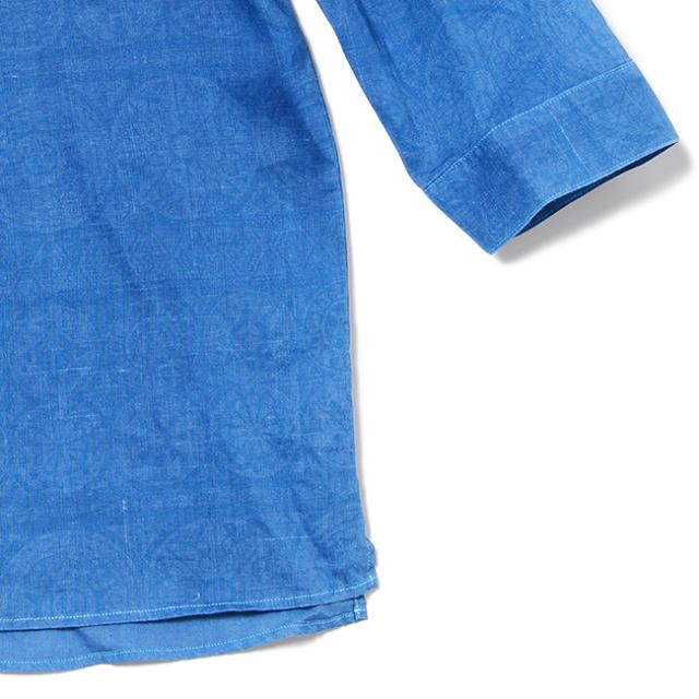 琉球藍染 / メンズ7分袖プルオーバーシャツ / Ethnican Hibiscus