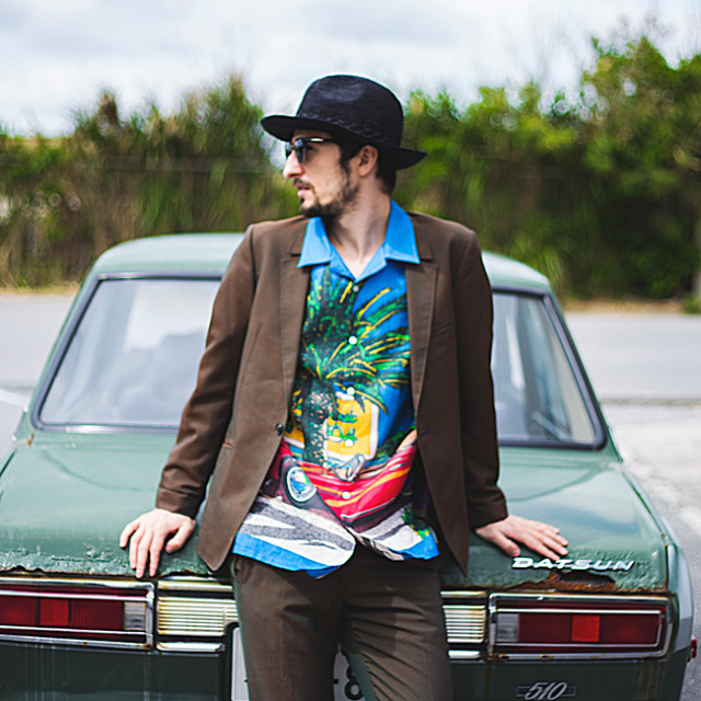 メンズ半袖アロハシャツ/南カリフォルニアの休日/EIZIN SUZUKI×PAIKAJI