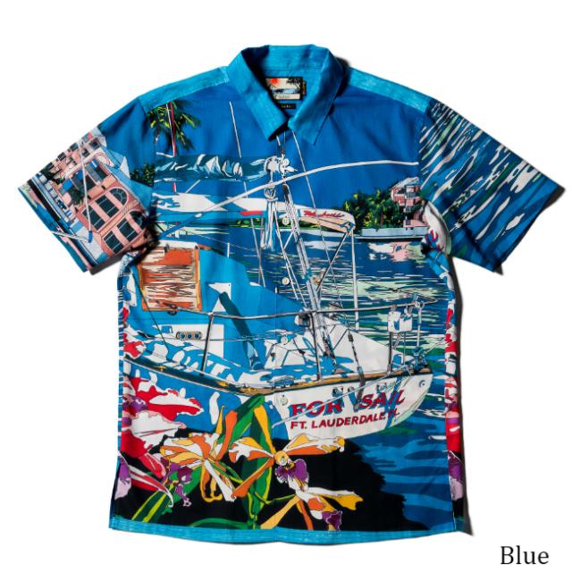 メンズ半袖アロハシャツ/ヨットと過ごした夏の懐かしき日々