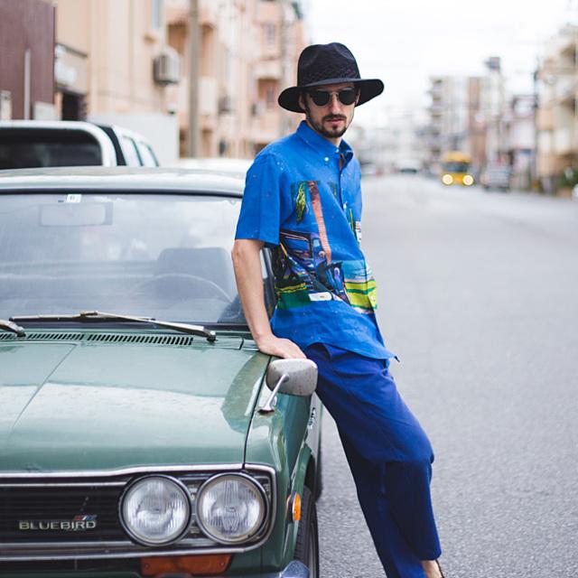 メンズ半袖アロハシャツ/BLUE SKY BLUES/EIZIN SUZUKI×PAIKAJI