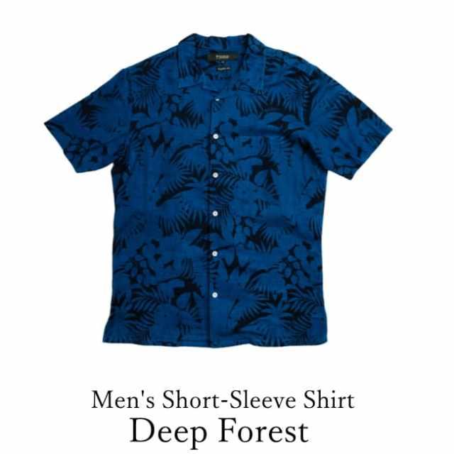琉球藍染/Men's Short-Sleeve Shirt/Deep Forest