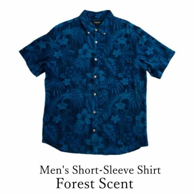 琉球藍染/Men's Short-Sleeve Shirt/Forest Scent