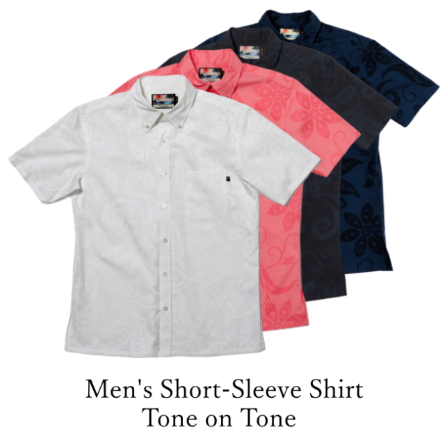 Men's Short-Sleeve Shirt/Tone on Tone