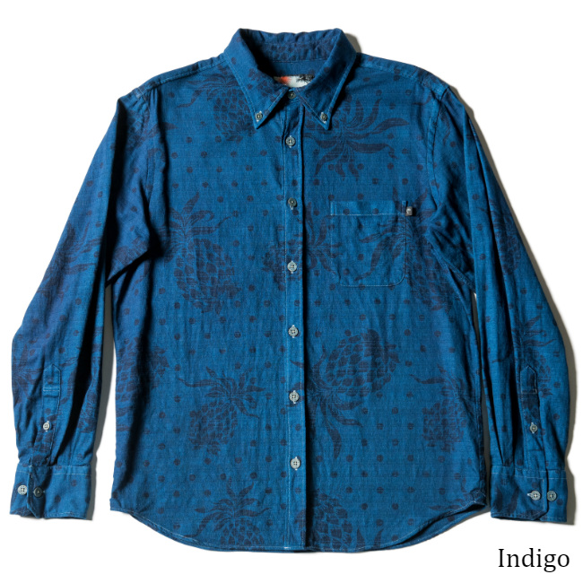 アロハシャツ メンズ長袖ボタンダウンシャツ Juicy Hibiscus