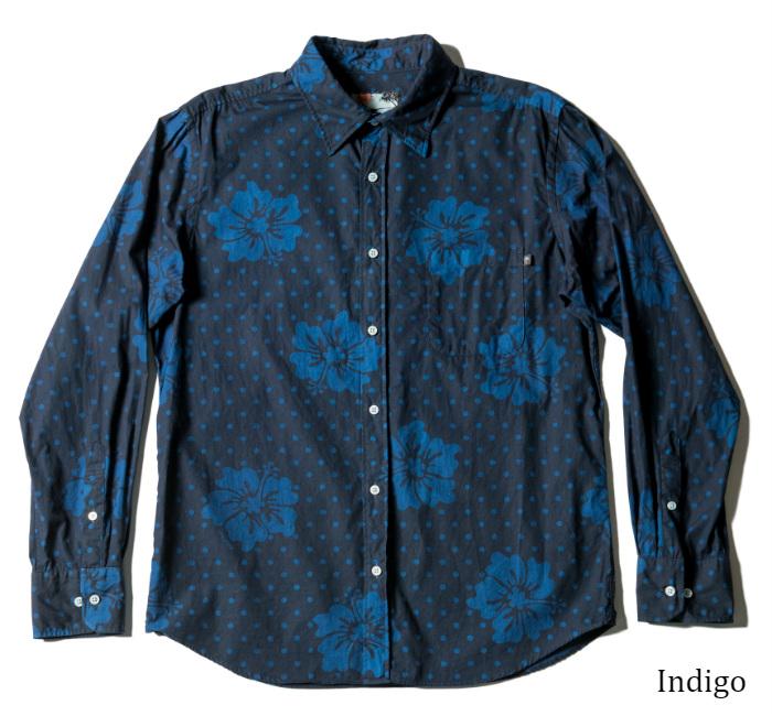 アロハシャツ メンズ長袖レギュラーカラーシャツ Marble Hibiscus