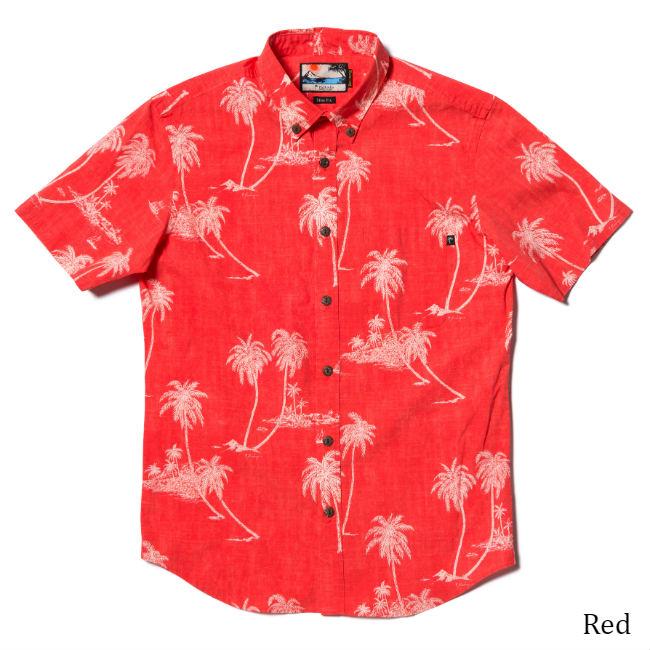 メンズ半袖アロハシャツ/Palm tree Island