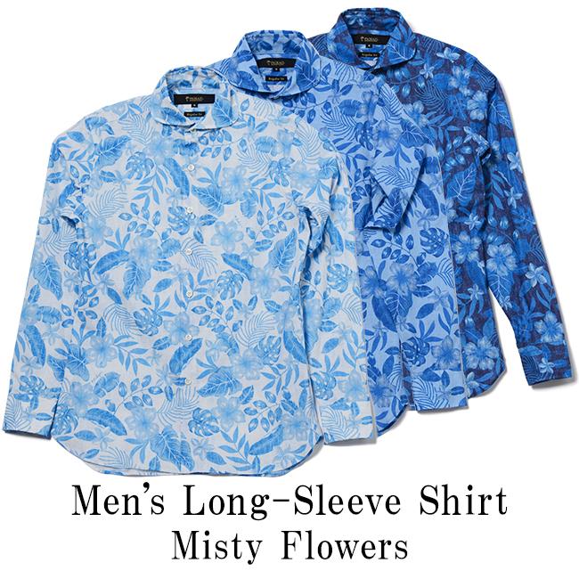 メンズ長袖ホリゾンタルカラーシャツ / Misty Flowers