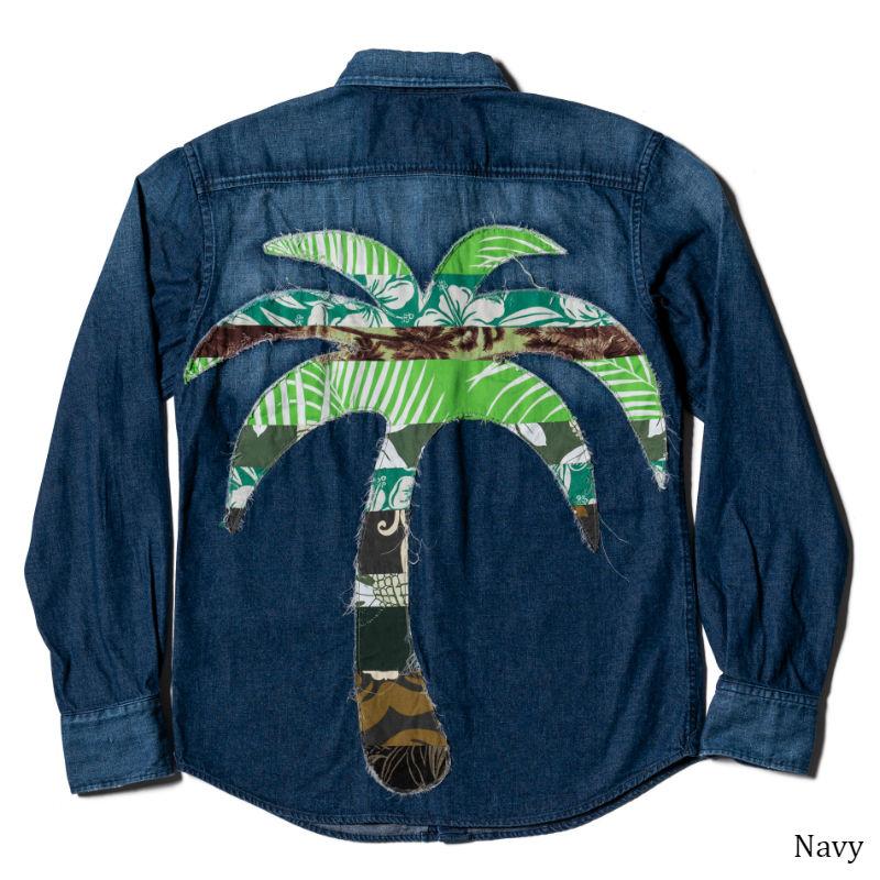 メンズ長袖アロハシャツ/Palm tree