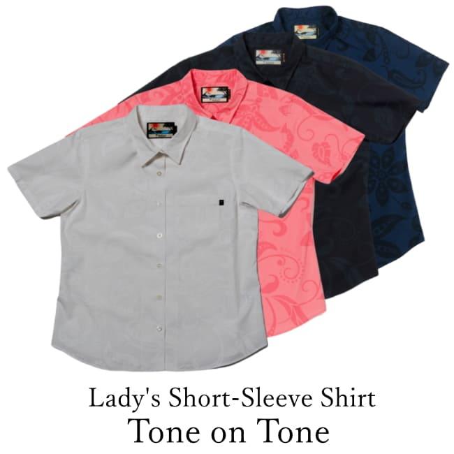 Lady's Short-Sleeve Shirt/Tone on Tone