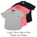 Lady's Short-Sleeve Shirt/Tone on Tone