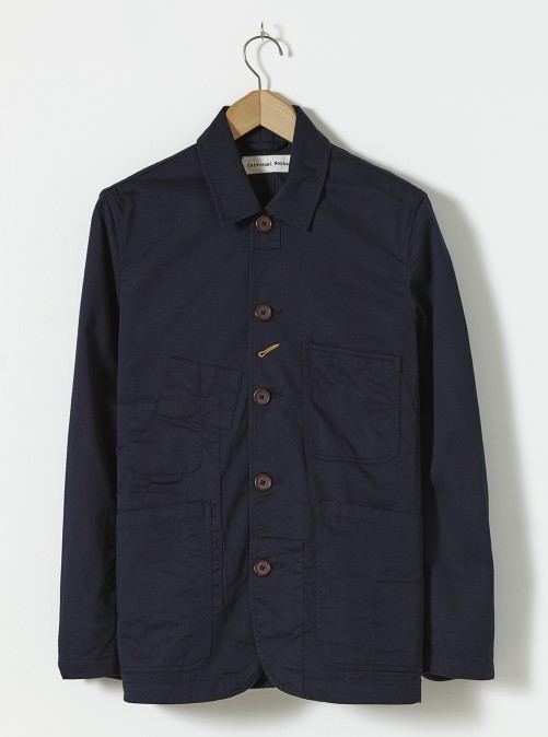 ユニバーサルワークス ベイカーズジャケット Universal Works Bakers Jacket (With Patches) In Navy Twill