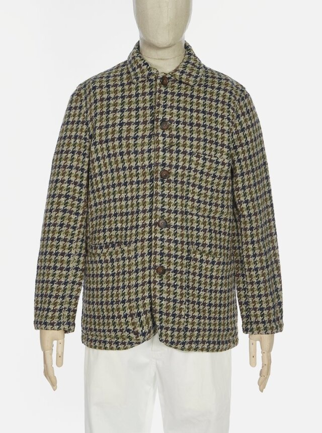 Universal Works ユニバーサルワークス Long Bakers Jacket V3 In Olive Recycled Tweed