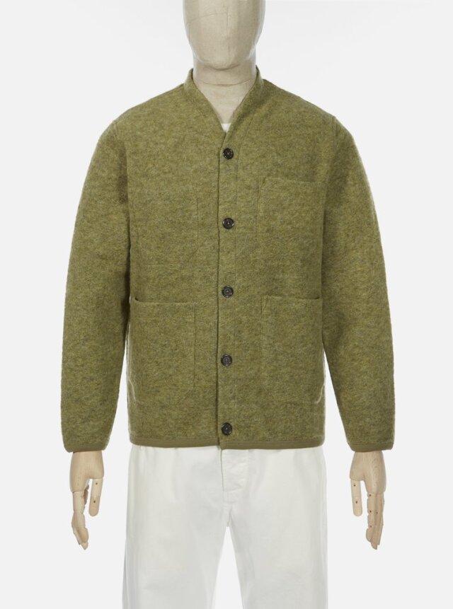 Universal Works ユニバーサルワークス Cardigan In Light Olive Wool Fleece