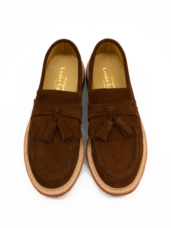 ローク タッセルローファー スエード LOAKE SUEDE TASSELL LOAFER RED DINITE SOLE BROWM