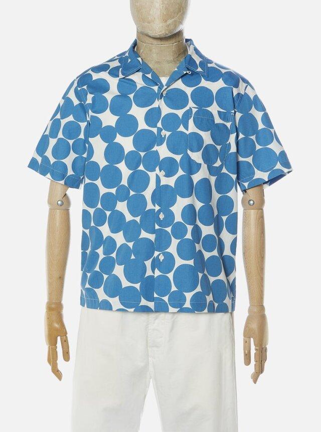 Universal Works ユニバーサルワークス  Road Shirt In Blue Dot Print Poplin