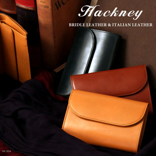 HACKNEY/ハックニー ブライドルレザー&イタリアンレザー 三つ折り財布