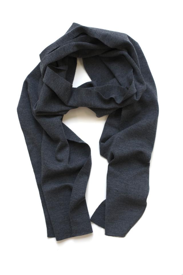 John Smedley Wool Knit Muffler/Scarf Charcoal ジョンスメドレー ウール マフラー チャーコール