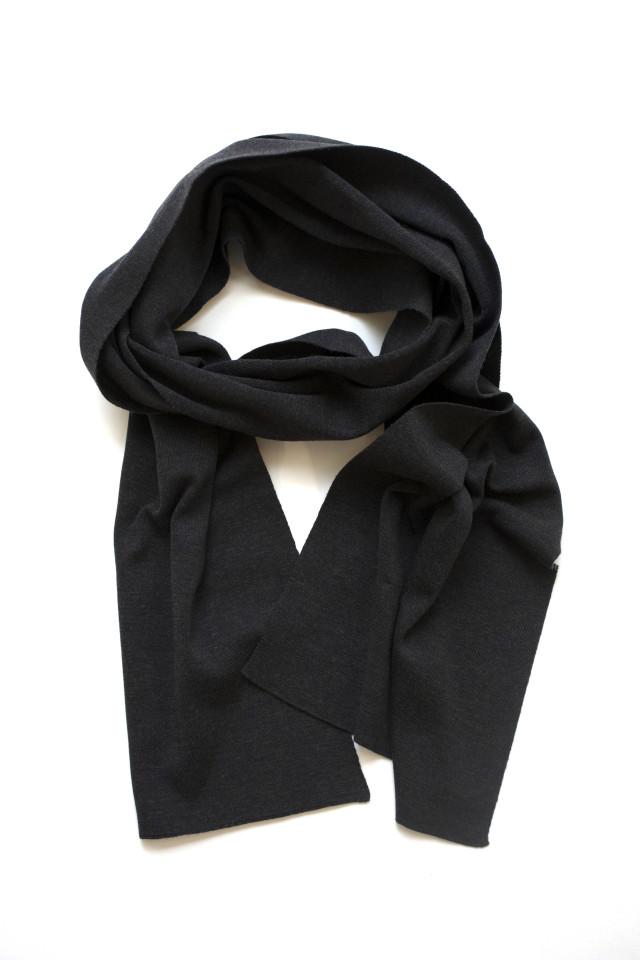 John Smedley Wool Knit Muffler/Scarf Soot ジョンスメドレー ウール マフラー スート