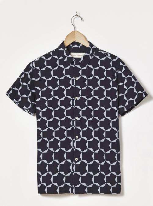 Universal Works ユニバーサルワークス ロードシャツ ラージタイル ポプリン ブルー