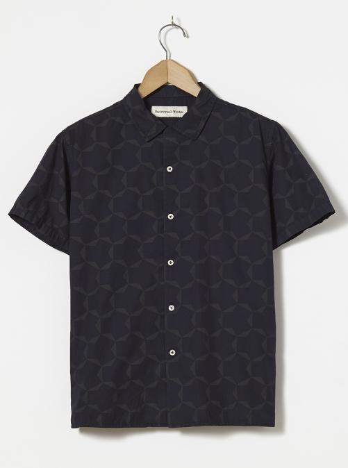 Universal Works ユニバーサルワークス ロードシャツ ラージタイル ポプリン ネイビー