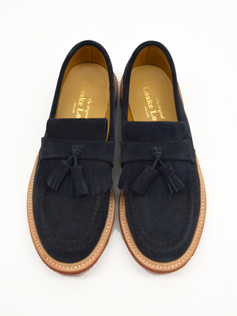 ローク タッセルローファー スエード LOAKE SUEDE TASSELL LOAFER RED DINITE SOLE  BRIGHTON NAVY