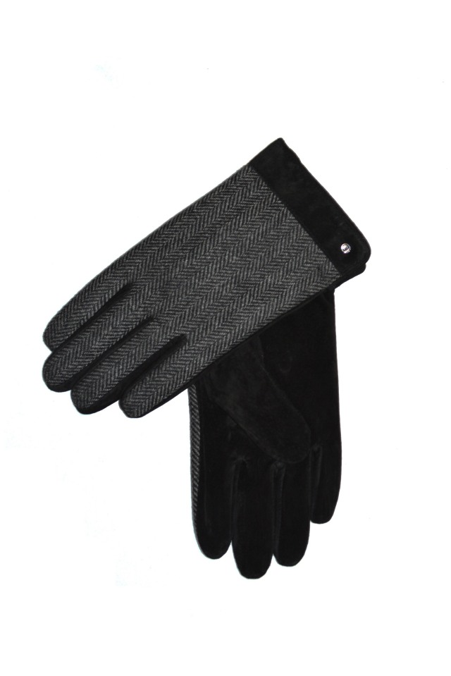DENTS デンツ 手袋 グローブ ブラック FLEECE LINED HERRINGBON BACK SUEDE GLOVES BLACK