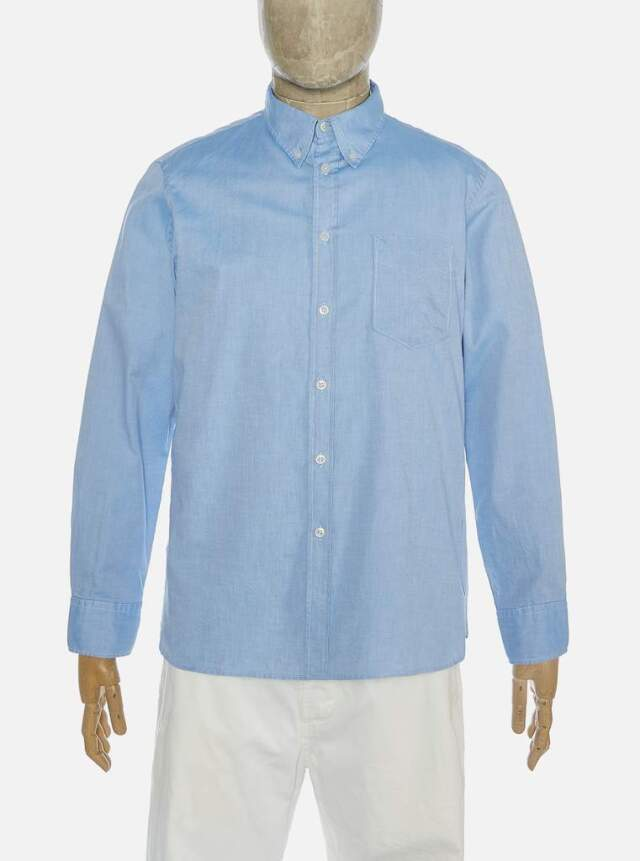 Universal Works ユニバーサルワークス Everyday Shirt In Blue Organic Oxford