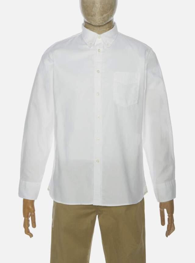 Universal Works ユニバーサルワークス Everyday Shirt In White Organic Oxford