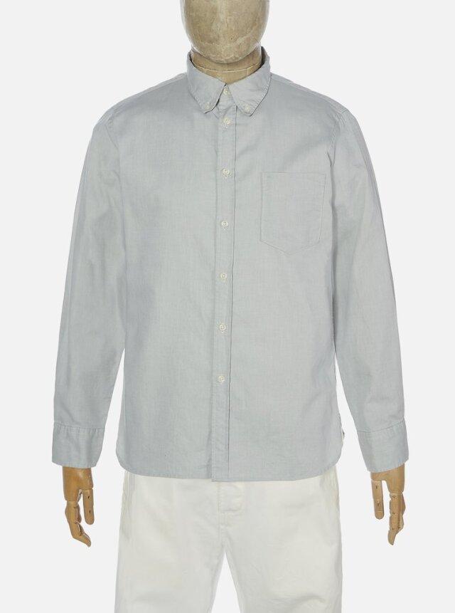 Universal Works ユニバーサルワークス Everyday Shirt In Pale Gray/Chocolate Organic Oxford