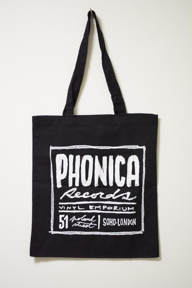 PHONICA RECORDS CANVAS TOTE BAG フォニカ レコード キャンバス トートバッグ ブラック