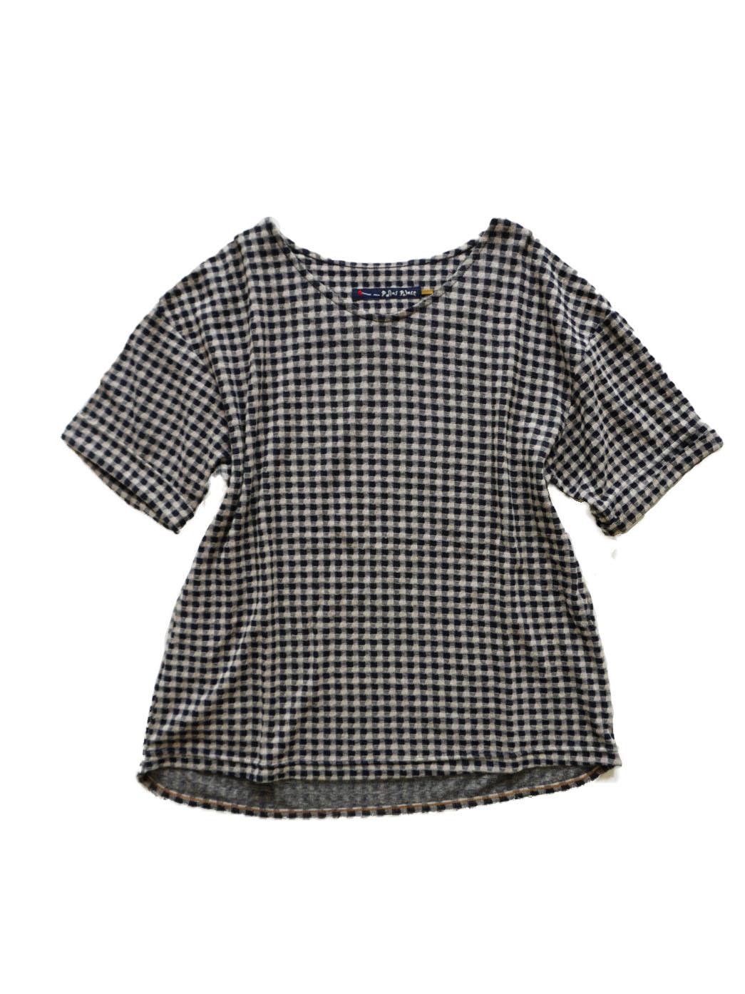 リンクス編ガーゼチェック5分袖Tシャツ