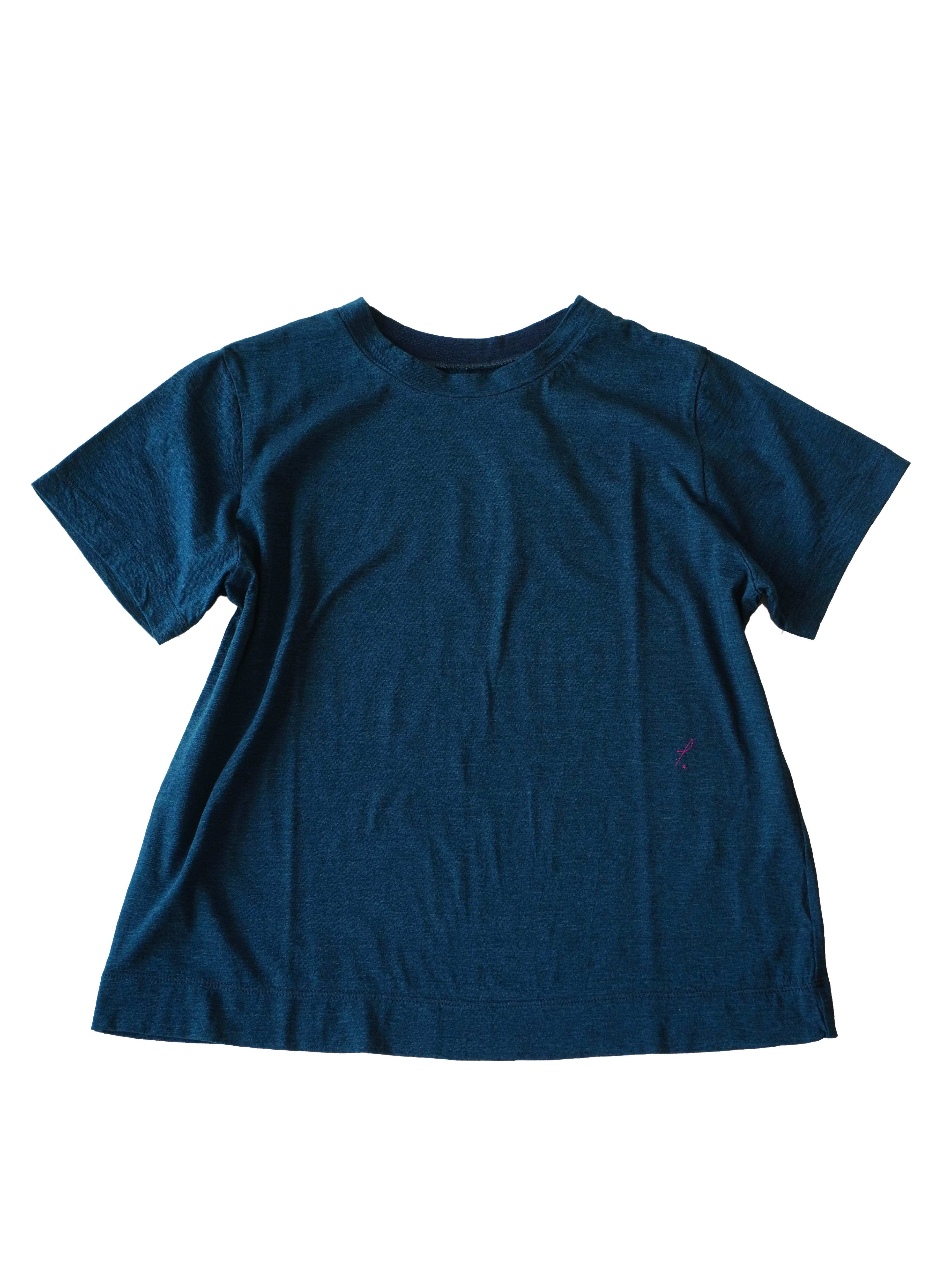 PP38.5インディゴ天竺ショート袖Tシャツ