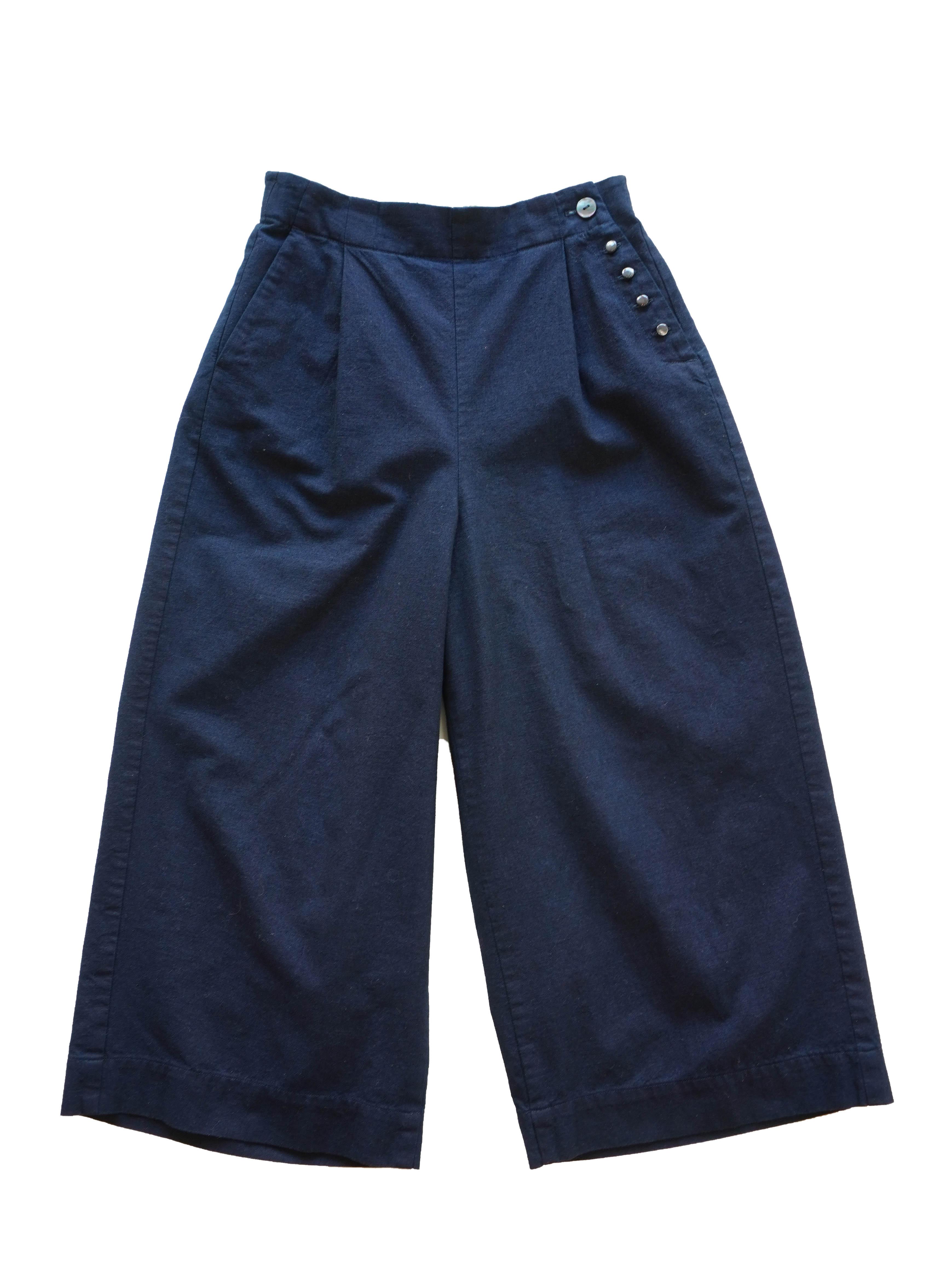 インディゴ平織りタックパンツ
