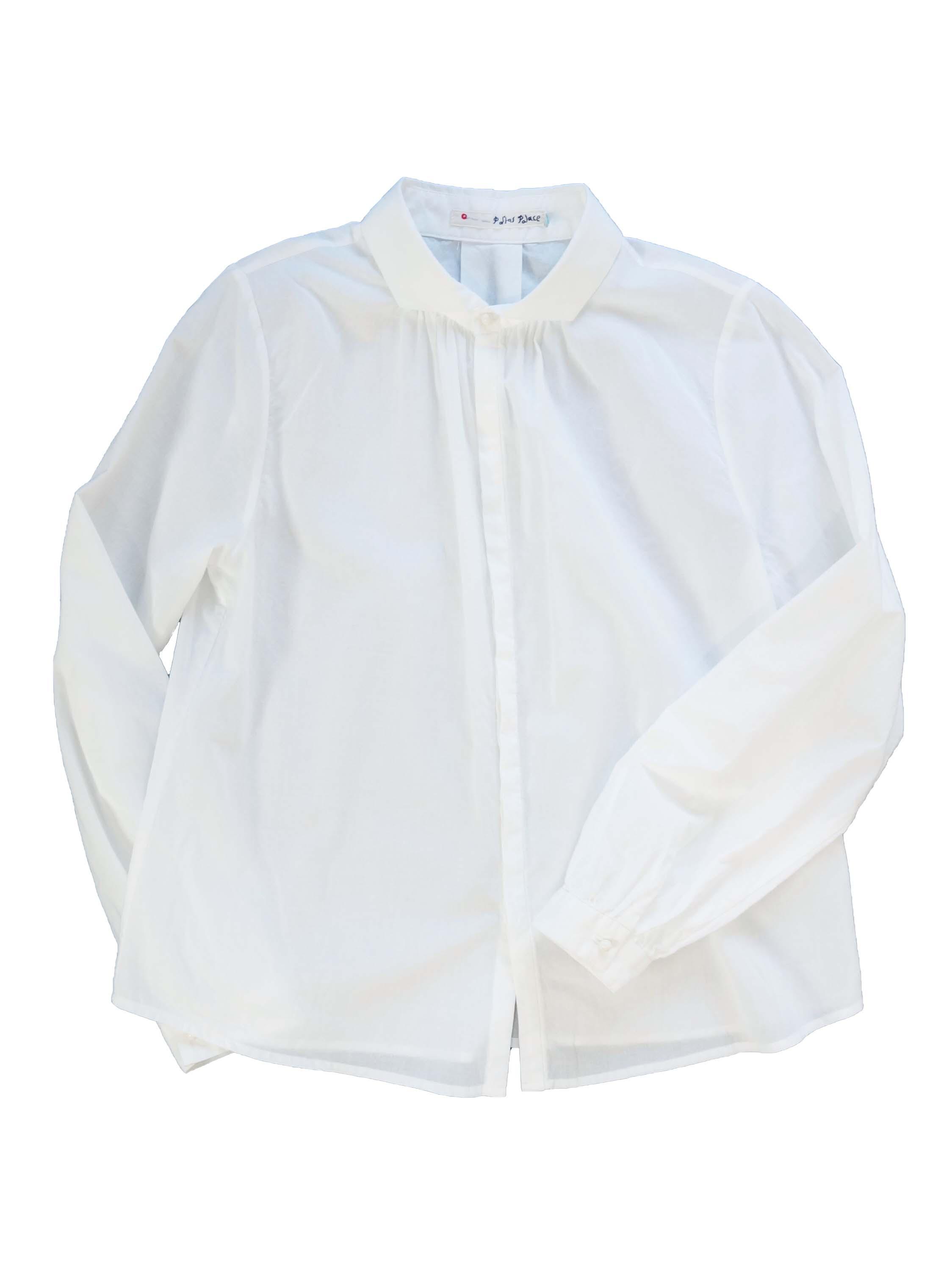 ローンウィング衿ギャザーシャツ