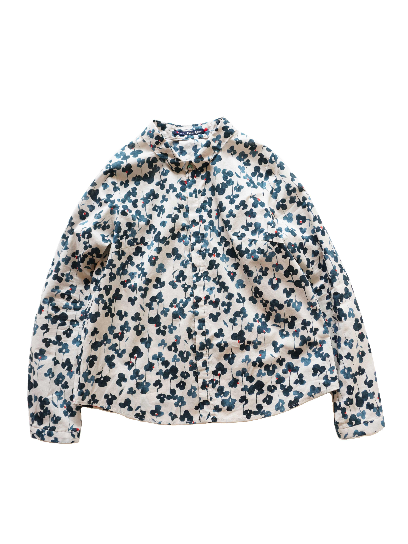 ローン初恋草柄ちび衿シャツ