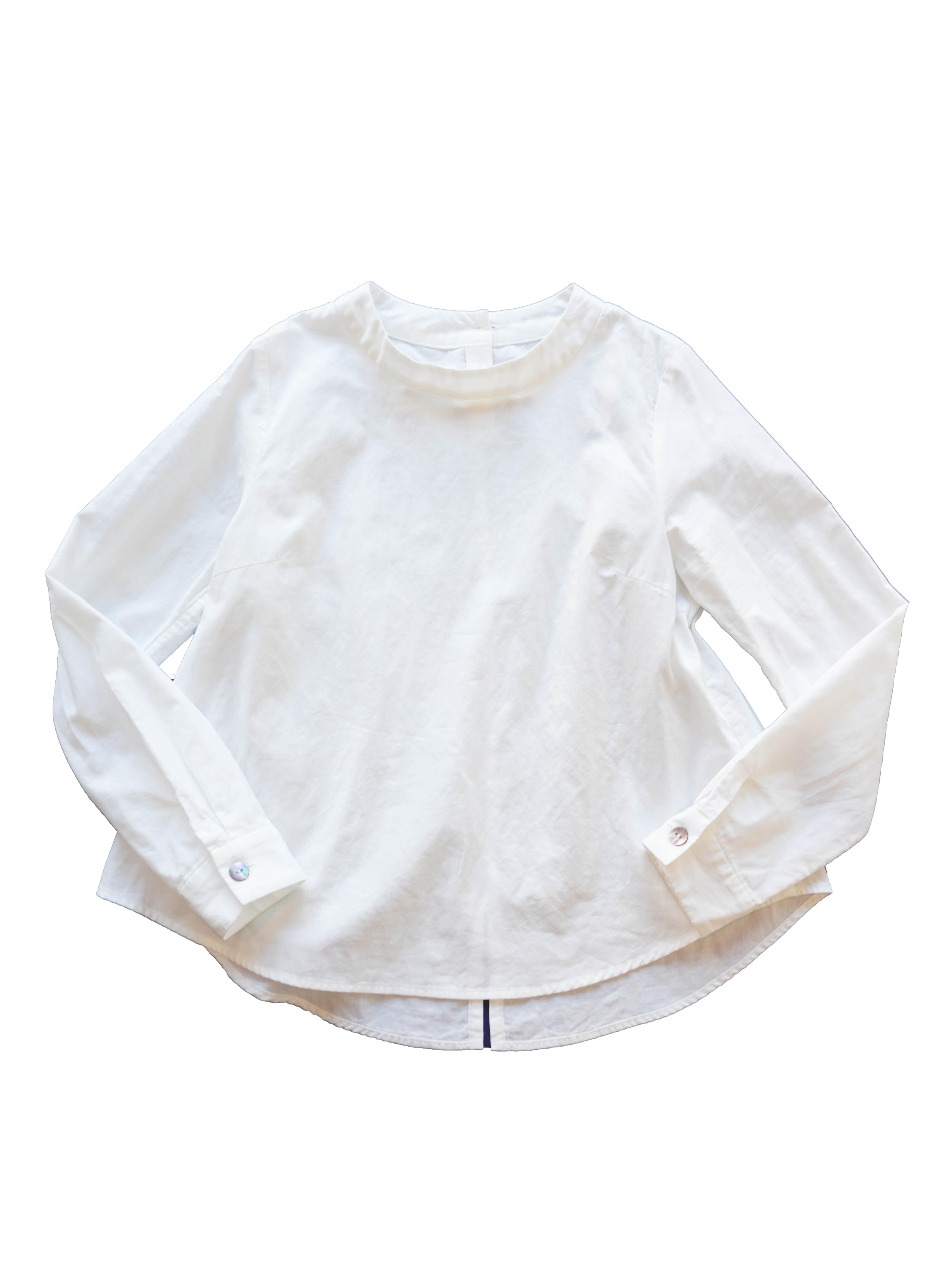 二重織スタンド衿プルオーバーシャツ