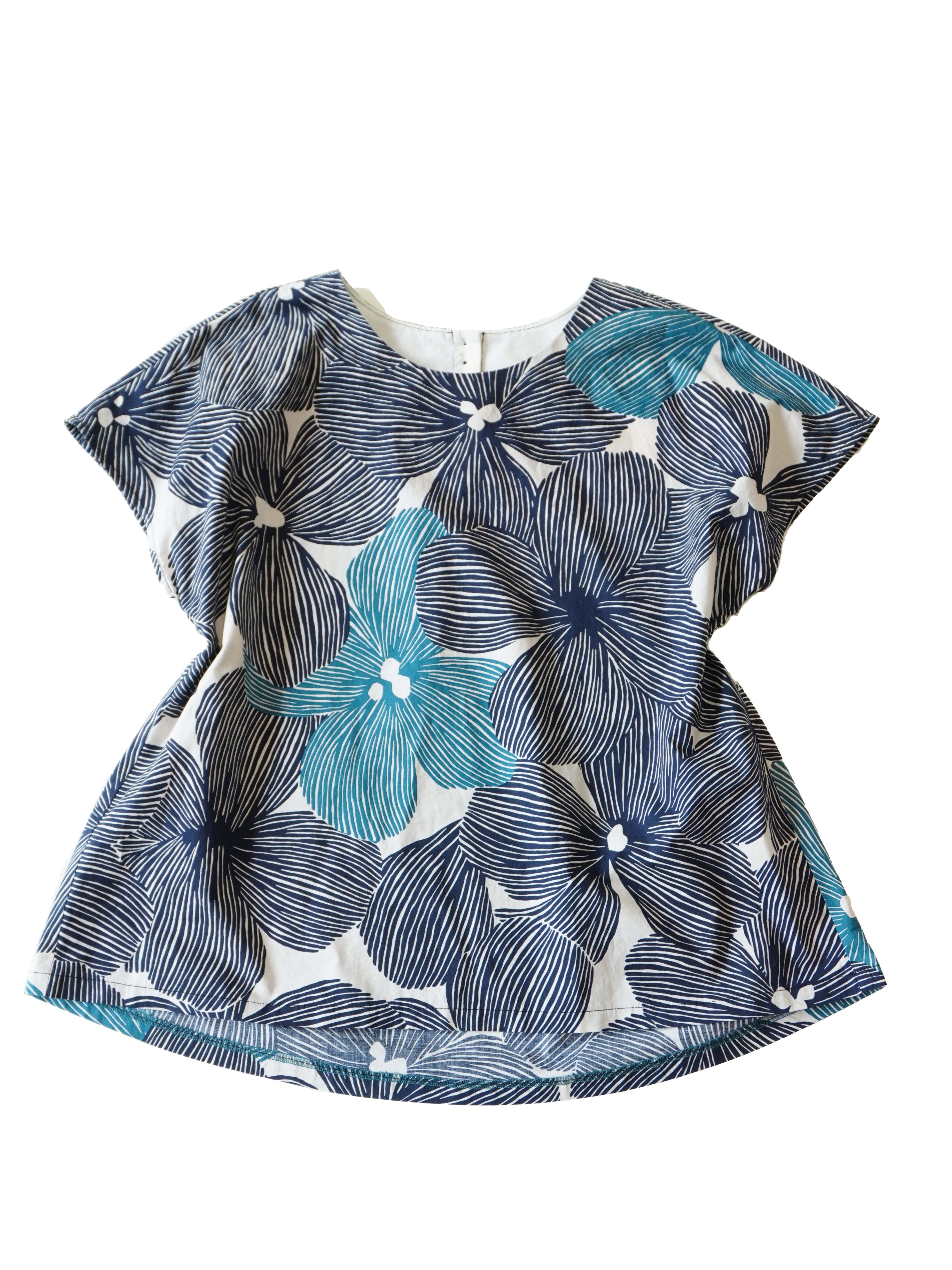 ローン立葵柄フレアーショート袖シャツ