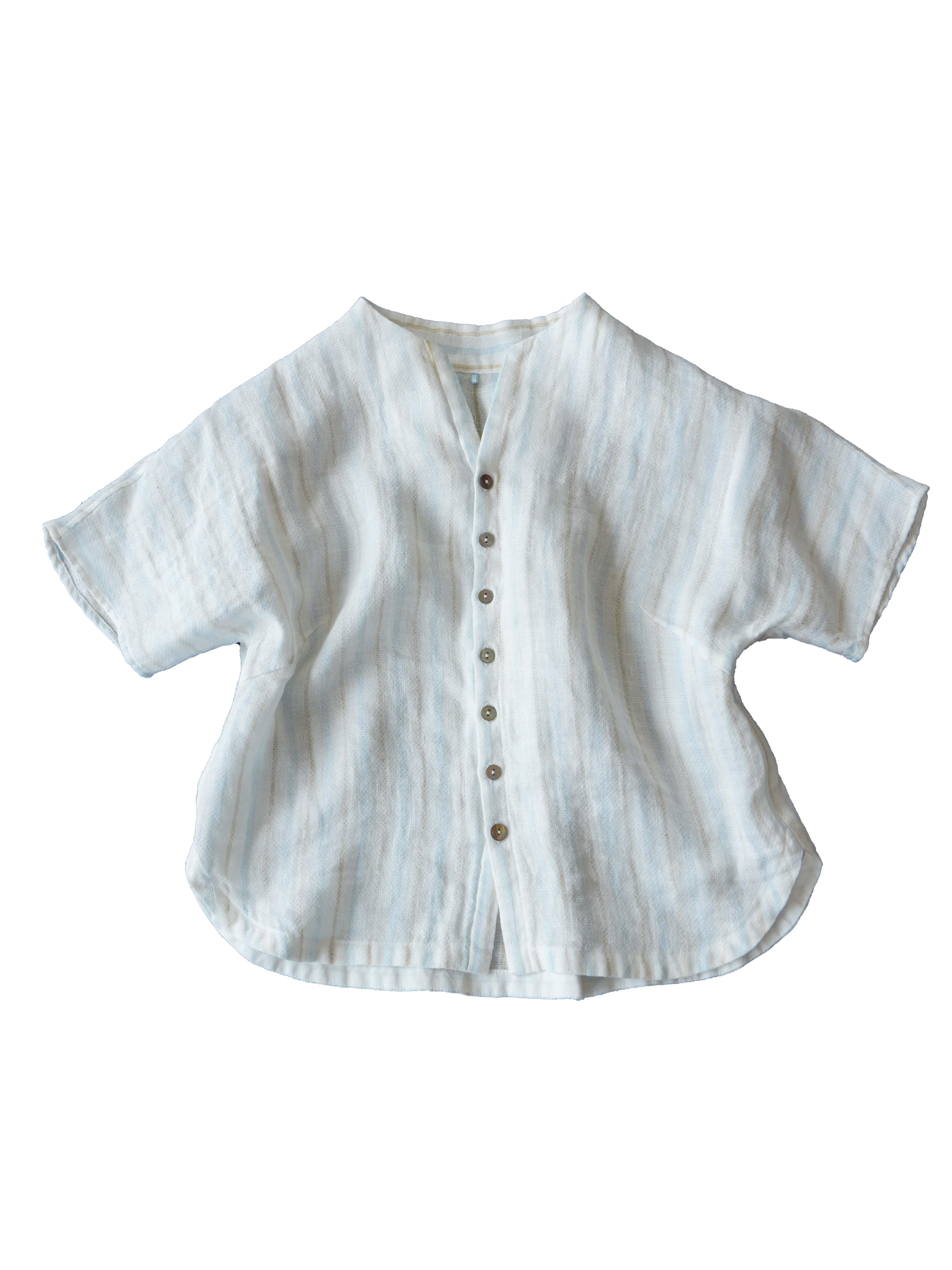 リネンコットンダブルガーゼ裏ストライプボトル衿シャツ