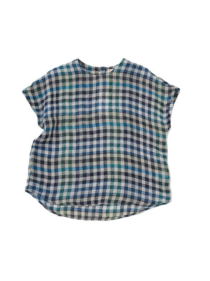 リネンガーゼギンガムチェックボトル襟シャツ