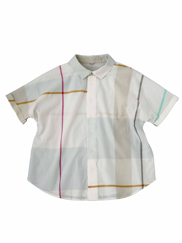KKヴィンテージチェックワイド襟5分袖シャツ